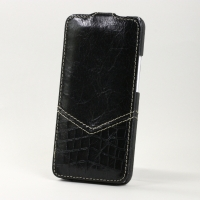 BONRONI Leather Case for New HTC One M7 (Black croc)