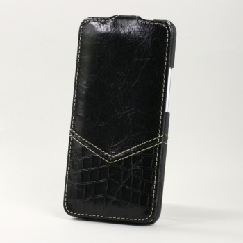 Чехол BONRONI Leather Case for New HTC One M7 (Black croc)