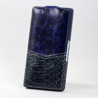 BONRONI Leather Case for Sony Xperia Z L36h (Blue snake)