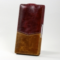 BONRONI Leather Case for Sony Xperia Z L36h (red/brown)