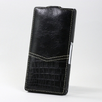 BONRONI Leather Case for Sony Xperia Z L36h (Black snake)