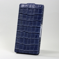 BONRONI Leather Case for Sony Xperia Z L36h (Blue croc)