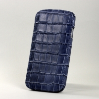 BONRONI Leather Case for Samsung Galaxy S4/IV GT-I9500 (blue croc)