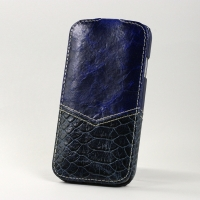 BONRONI Leather Case for Samsung Galaxy S4/IV GT-I9500 (blue snake)