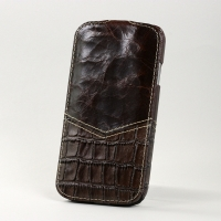 BONRONI Leather Case for Samsung Galaxy S4/IV GT-I9500 (brown croc)