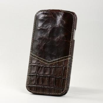 Чехол BONRONI Leather Case for Samsung Galaxy S4/IV GT-I9500 (brown croc)