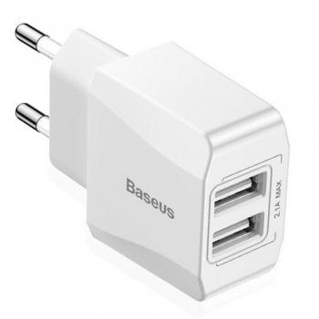 Сетевое зарядное устройство Baseus Mini Dual-U 2.1 A, белое