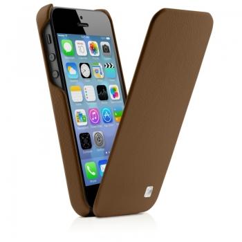 Чехол mobler Magic Flip (коричневый) для iPhone 5/5S + Пленка