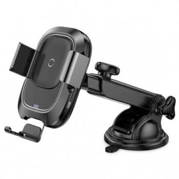 Автомобильный держатель  Держатель с беспроводной зарядкой Baseus Smart Vehicle Bracket Wireless Charger (WXZN-B01) черный