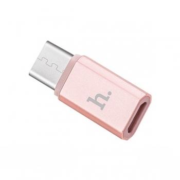 Адаптер Hoco micro USB на Type-C (rose gold)