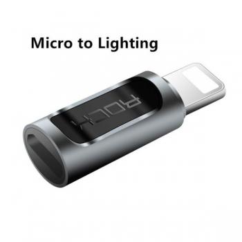 Переходник Rock MicroUSB - Lightning адаптер, черный