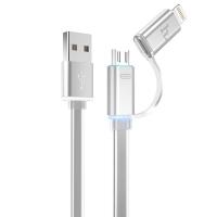Универсальный USB кабель Hoco UPL08 (lightning+micro) серый
