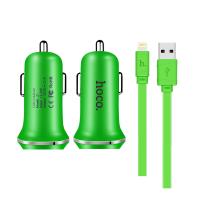 Автомобильная зарядка для iPhone, iPad - Hoco Z1 Charging Kit (green)