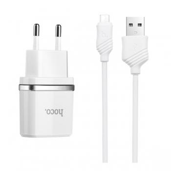 Сетевая зарядка Hoco C12 Dual USB Charger 2.4A + кабель micro usb